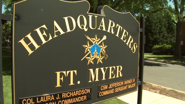 may 21 2009 ms entrance sign to fort myer military base headquarters with amputee patients on horseback passing by / arlington virginia united states - fort myer stock videos and b-roll footage