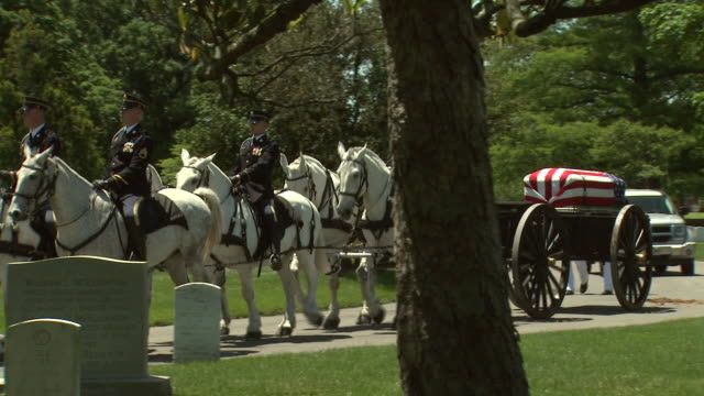 may 21, 2009 military personnel on horseback carrying caisson with flag-draped coffin along the pavement through arlington national cemetery /... - アーリントン点の映像素材/bロール