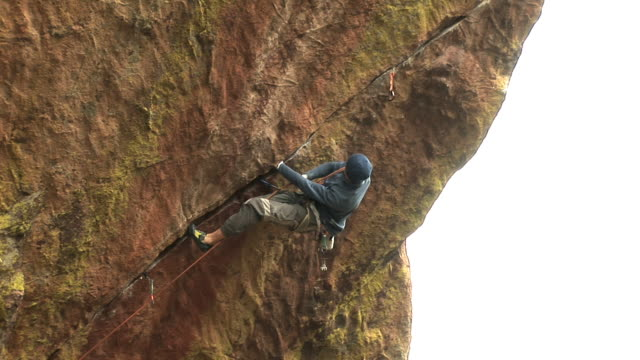 may 22 2009 montage a professional rock climber making a free climb in an expansive woodland - crimped hair stock videos and b-roll footage