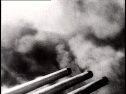 may 24 1941 montage 16inch naval guns firing / north sea - bismarck north dakota stock videos & royalty-free footage