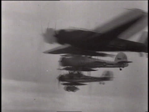stockvideo's en b-roll-footage met may 24, 1941 reenactment fairey swordfish attack on the battleship bismarck / north sea - tweede wereldoorlog