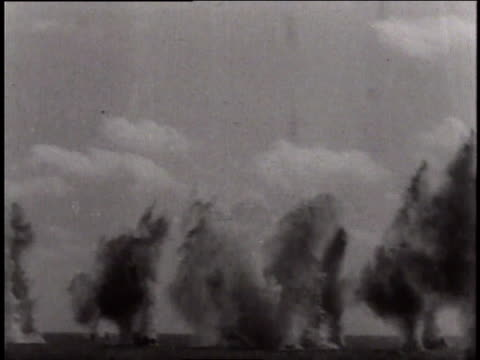 May 27, 1941 REENACTMENT sinking of the battleship Bismarck in naval combat / North Sea