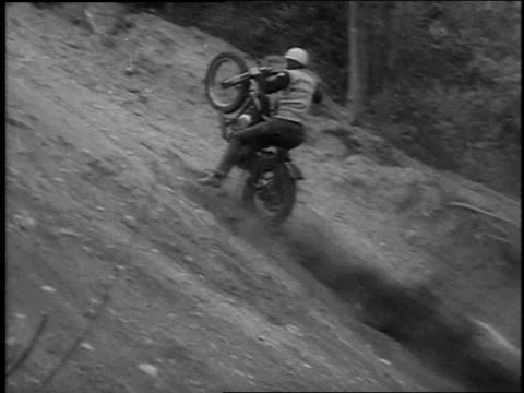 May 6, 1954 MONTAGE motorcycle hill climb on Jolly Roger Hill / Seattle, Washington, United States
