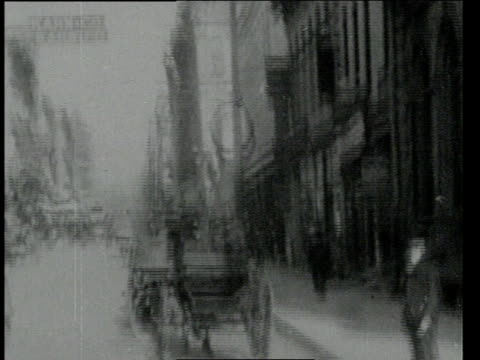 may 7, 1904 pov wide congested street of business district with horse-drawn carts, two-wheeled and four-wheeled carriages, pedestrians strolling / felix street, st. joseph, missouri, united states - 1904 stock videos & royalty-free footage
