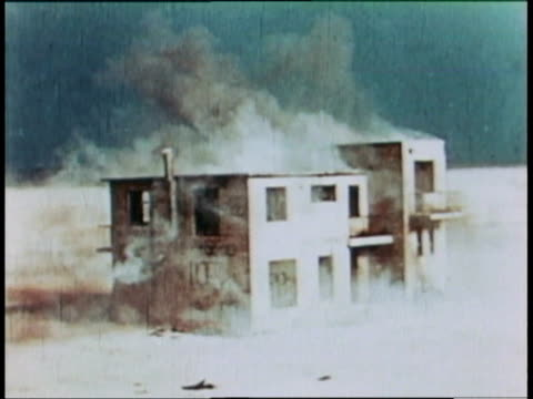 may 9 1966 ws house exploding during nuclear test / china - atomic bomb testing stock videos & royalty-free footage