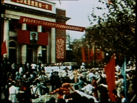 may 9 1966 pan parade celebrating successful thermonuclear test / china - 1966 stock videos & royalty-free footage