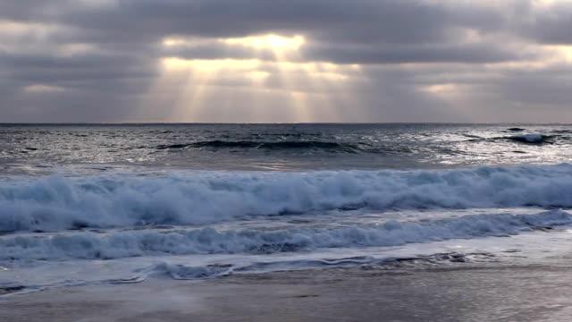 may gray june gloom san diego sunset - carlsbad california stock videos & royalty-free footage