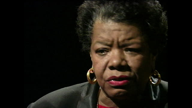 maya angelou gives advice to those recovering from rape and to feel anger rather than bitterness; 1994. - black background stock videos & royalty-free footage