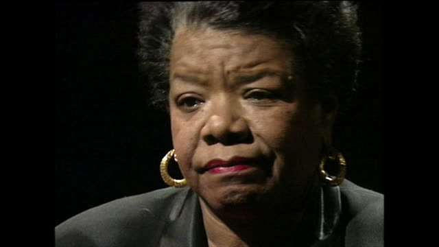 """maya angelou on her poem, """"on the pulse of morning"""" being translated into multiple language and agrees that it will have been heard by a lot of... - black background stock videos & royalty-free footage"""