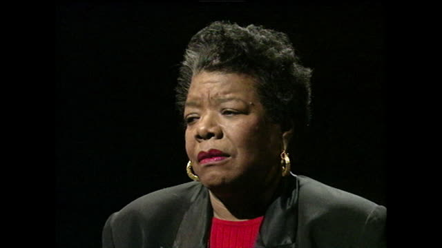 maya angelou on identifying herself as a writer first and foremost and explains how she loves the human voice and language; 1994. - black background stock videos & royalty-free footage