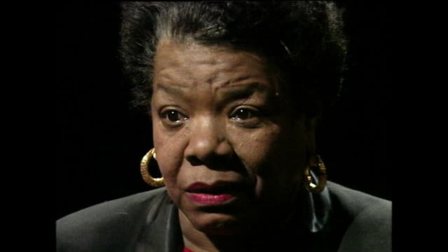 maya angelou, speaking in 1994, on not fearing death and being resolved with its inevitability, leaving the her sentence unfinished; 1994. - serene people stock videos & royalty-free footage