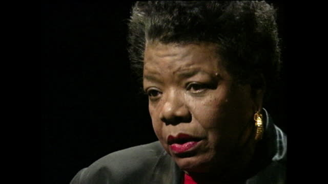 """maya angelou speaks about having a """"strange memory"""" and theorises on whether it played a part in being mute as a child; 1994. - black background stock videos & royalty-free footage"""