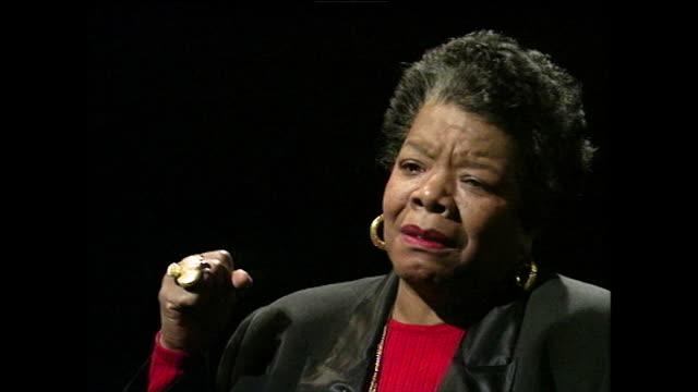 maya angelou speaks about her surprise at discovering that africanisms and phrases had been part of her life without realising; 1994. - black background stock videos & royalty-free footage