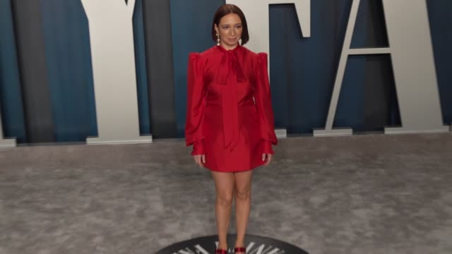 maya rudolph at vanity fair oscar party at wallis annenberg center for the performing arts on february 9 2020 in beverly hills california - vanity fair oscarparty stock-videos und b-roll-filmmaterial