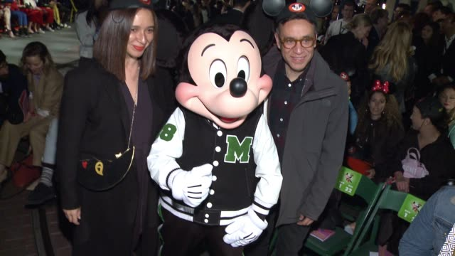 maya rudolph fred armisen and mickey mouse at the opening ceremony presents spring 2018 show at disneyland and disney collaboration inspired by true... - maya rudolph video stock e b–roll