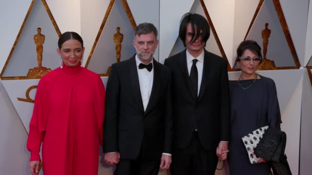 Maya Rudolph Paul Thomas Anderson Jonny Greenwood and Sharona Katan at 90th Academy Awards Arrivals 4K Footage at Dolby Theatre on March 04 2018 in...