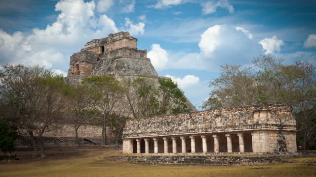 time lapse: maya ruins uxmal - puuc region stock videos and b-roll footage