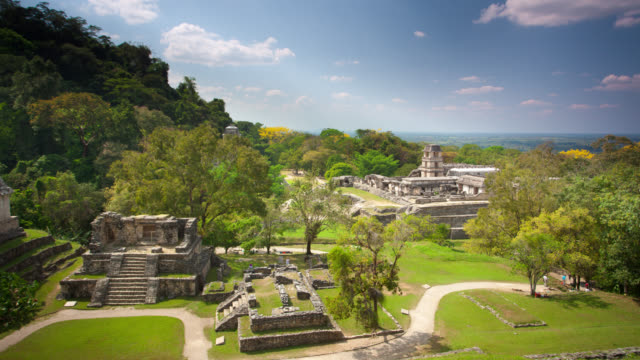 time lapse: maya temples palenque - pyramid stock videos and b-roll footage
