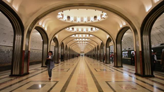 mayakovskaya metro station, moscow, russia - underground stock videos & royalty-free footage