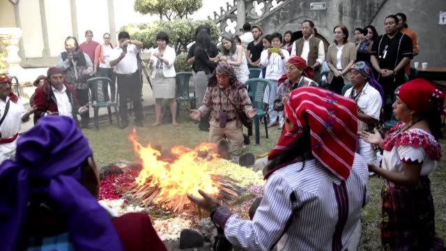 a mayan ceremony was celebrated sunday in guatemala to launch a week of deliberations by the united nations permanent forum on indigenous issues... - latin american civilizations stock videos and b-roll footage