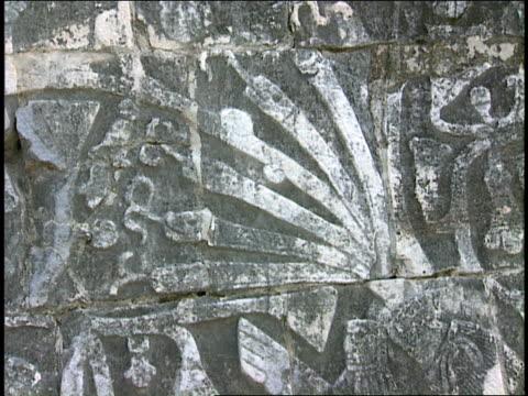 mayan ruins bear serpent carvings. - mayan stock videos & royalty-free footage