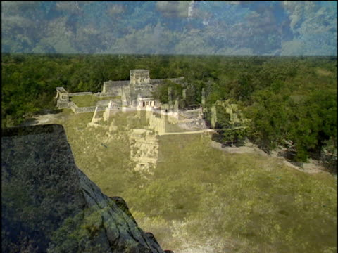 mayan ruins of chichen itza surrounded by lush tropical rainforest mexico - mayan stock videos and b-roll footage