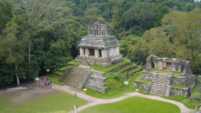 vídeos de stock e filmes b-roll de mayan temple of the sun high angle view. palenque ruins establishing shot. chiapas, mexico - palenque