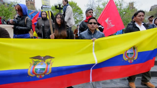 mayday 2016 held in new york city / protesters marched from union square to washington square park / downtown manhattan, new york city, usa /... - ecuadorian ethnicity stock videos & royalty-free footage