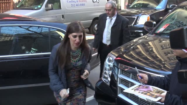 mayim bialik arrives at the today show in rockefeller center in celebrity sightings in new york - mayim bialik stock videos & royalty-free footage