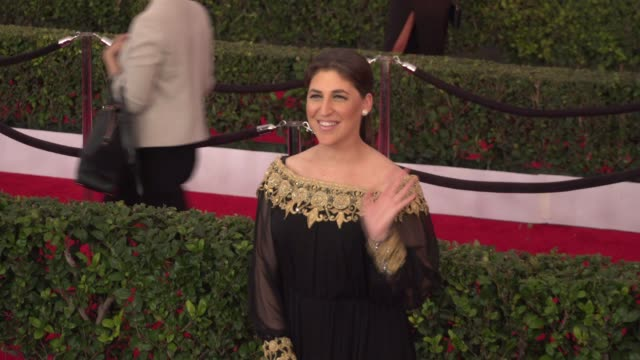 mayim bialik at 22nd annual screen actors guild awards arrivals in los angeles ca - mayim bialik stock videos & royalty-free footage