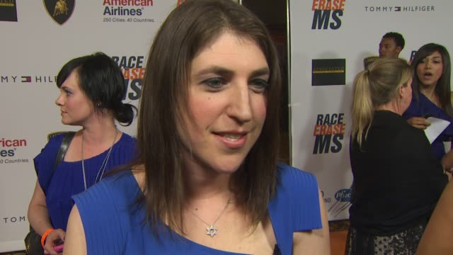 mayim bialik on being a part of the night if she's walking in the show who she's wearing at the 17th annual race to erase ms cochaired by nancy davis... - mayim bialik stock videos & royalty-free footage