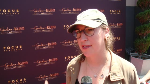interview mayim bialik on what she loves about these movies on kubo at from coraline to kubo a magical laika experience in los angeles ca - mayim bialik stock videos & royalty-free footage