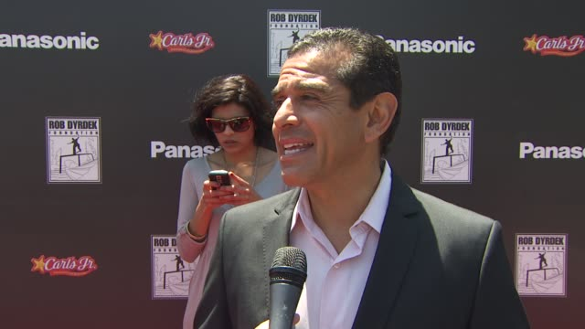 mayor antonio villaraigosa on attending today's event on how he knows rob dyrdek and on if he skateboards at the rob dyrdek foundation sk8 4 life... - antonio villaraigosa stock videos and b-roll footage