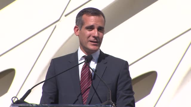 KTLA Mayor Eric Garcetti at The Broad civic dedication and ribboncutting to celebrate the opening of The Broad LA's newest contemporary art museum on...