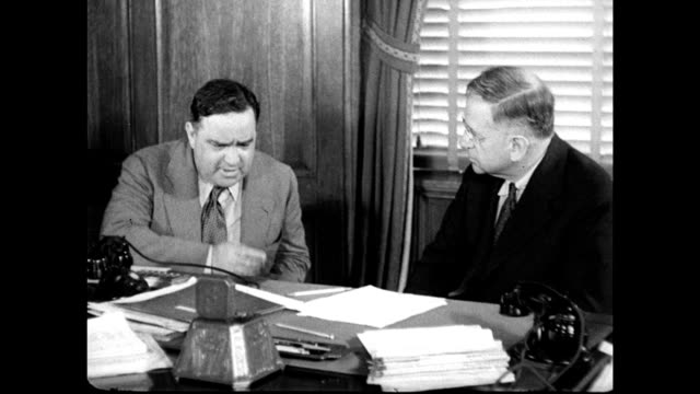 mayor fiorello laguardia w/ us secretary of interior harold l ickes 'the happiness lives amp health of american children amp families can't figure it... - fiorello la guardia stock videos & royalty-free footage