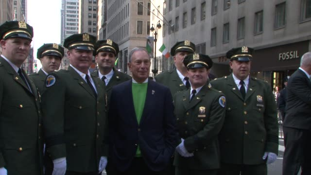 mayor michael bloomberg at the start of the 2012 st patrick's day parade mayor bloomberg posing for photos with members of nypd st patrick's day... - mayor stock videos & royalty-free footage