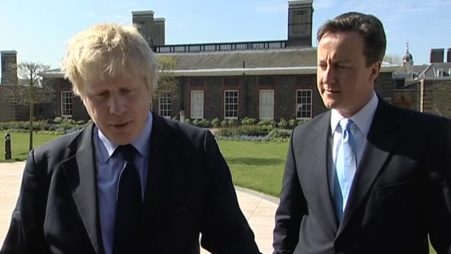 stockvideo's en b-roll-footage met mayor of london boris johnson and conservative party leader david cameron at royal hospital chelsea london 9 april - number 9