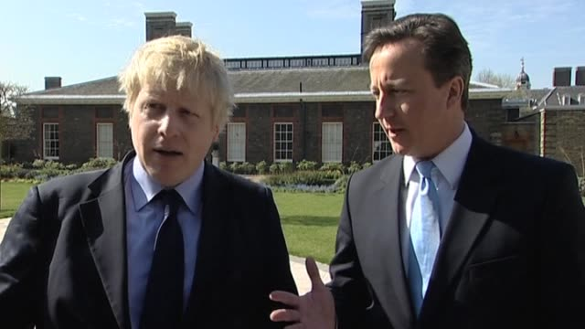stockvideo's en b-roll-footage met mayor of london boris johnson and conservative party leader david cameron comment on working relationship on election campaign trail london 9 april... - number 9
