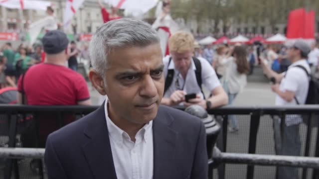 mayor of london sadiq khan comments on donald trump's planned visit to the uk and latest stabbings in london the mayor was attending a st george's... - 刺傷事件点の映像素材/bロール