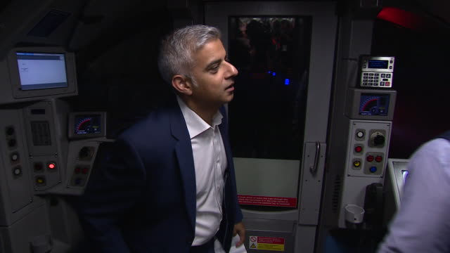 Mayor of London Sadiq Khan riding on board one of the first Night Tube trains as the service officially opens