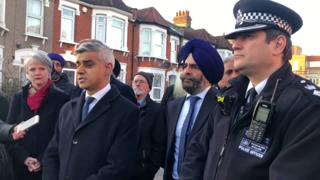 mayor of london sadiq khan speaks to the media at seven kings in ilford, east london, where three people died after being stabbed sunday evening. two... - ilford stock videos & royalty-free footage
