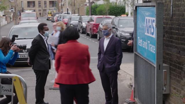mayor of london sadiq khan wearing a face mask during the coronavirus crisis - human head stock videos & royalty-free footage