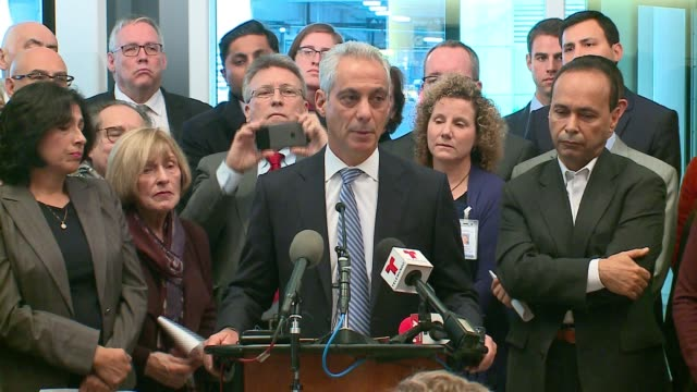 wgn mayor rahm emanuel declares chicago a sanctuary city on nov 14 2016 after donald trump won the us presidential election - sanctuary city stock videos & royalty-free footage