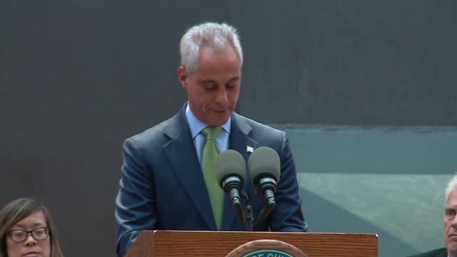 wgn mayor rahm emanuel speaks at chicago's picasso sculpture 50th anniversary as protesters yell in the background 16 shots and a coverup on aug 8... - cubism stock videos & royalty-free footage