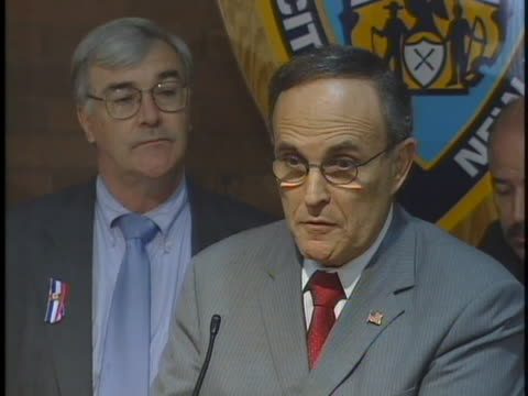 mayor rudy giuliani at a press conference about anthrax thanking the governor for opening up the state lab for testing. - 2001 stock videos & royalty-free footage
