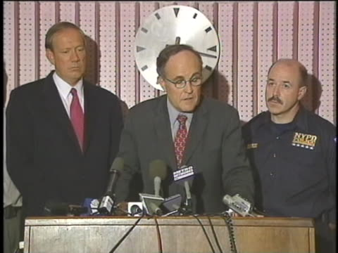mayor rudy giuliani comments on the loss of life during the terrorist attacks of september 11, 2001. - september 11 2001 attacks stock videos & royalty-free footage