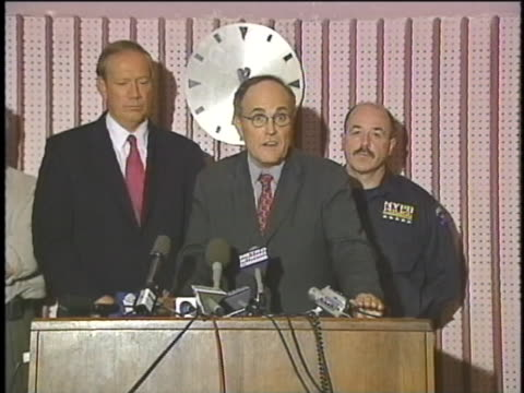 mayor rudy giuliani talks about the horrors of terrorism at a press conference on september 11, 2001. - september 11 2001 attacks stock videos & royalty-free footage