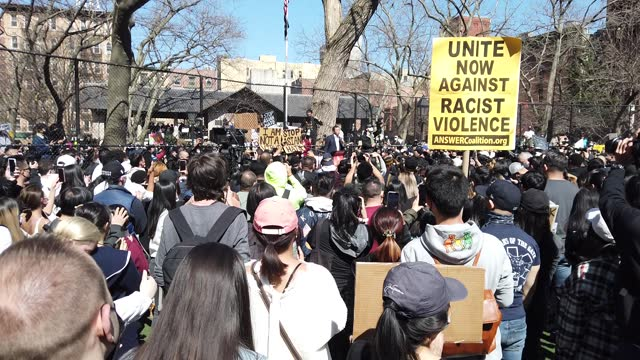 mayoral candidate andrew yang speaks at a rally against hate in columbus park on march 21, 2021 in the chinatown neighborhood of manhattan in new... - asian and indian ethnicities stock videos & royalty-free footage