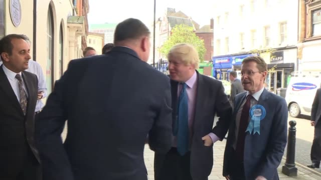 west midlands mayoral elections west midlands ext foreign secretary boris johnson mp with conservative mayoral candidate for west midlands andy street - west midlands stock videos and b-roll footage