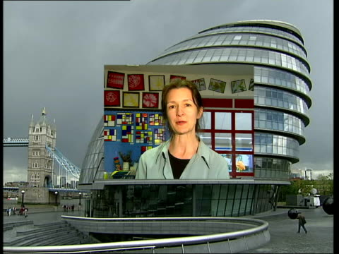 mayoral/euro elections: politicians aim to encourage voters; itn england: london: ext gv city hall with box appearing as brian cowan introduces... - other stock videos & royalty-free footage